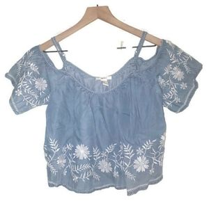F21 Faux Denim Crop Top W/ Embroidery Small